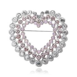Glittrande Silver Brosch - Hjärta med Vita & Rosa Rhinestones  Silver