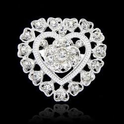 Glittrande Silver Brosch - Hjärta & Vita Rhinestones  Silver