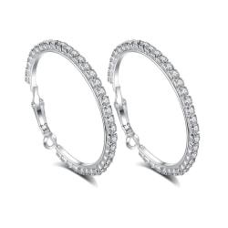 Glittrande Silver Örhängen - Hoop med Strass / CZ Kristaller  Silver