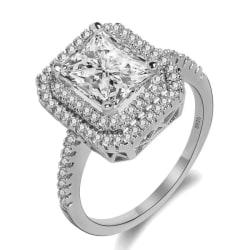 Glittrande Silver Ring med Många Vita CZ Kristaller - Stl 17,3 Silver