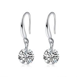 Glittrande Söta Silver Örhängen med Vita CZ Kristaller Silver