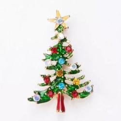Guld Brosch till Jul / Christmas - Julgran med Kulor & Stjärna Guld