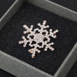 Guld Brosch till Jul / Christmas - Snöflinga med Rhinestones Guld