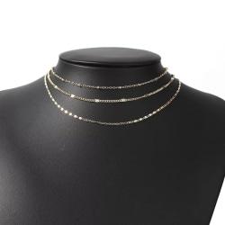 Guld Halsband / Choker med 3 Enkla, Olika och Tunna Kedjor Guld