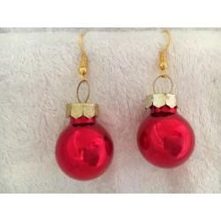 Guld Örhängen till Jul / Christmas - Röda Blanka Julkulor Röd