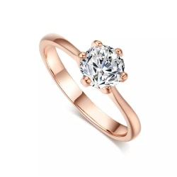 Guld Ring med Vit CZ Kristall - 18K Rosé Guldpläterad - Stl 18,2 Rosa guld