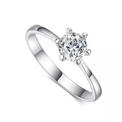 Guld Ring med Vit CZ Kristall - 18K Vit Guldpläterad - Stl 18,2 vitt guld