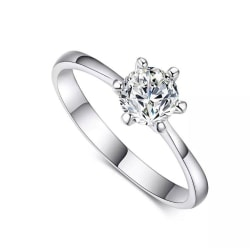 Guld Ring med Vit CZ Kristall - 18K Vit Guldpläterad - Stl 18,9 vitt guld