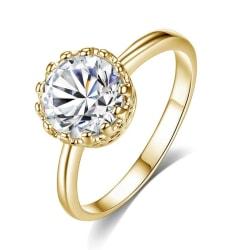 Guld Ring - Prinsess Krona med Vit CZ Kristall - Stl 18,2 Guld