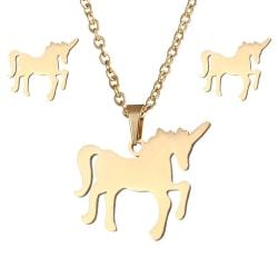 Guld Smyckesset - Halsband & Örhängen - Enhörning / Unicorn Guld