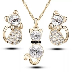 Guld Smyckesset - Halsband & Örhängen - Katt med Vit Kristall Guld