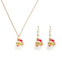 Guld Smyckesset till Jul - Halsband & Örhängen med Tomte Guld
