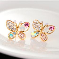 Guld Stud Örhängen - Fjärilar med Rhinestones i Olika Färger  Guld