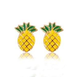 Guld Stud Örhängen - Söt Gul Ananas / Pineapple  Guld
