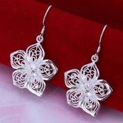 Hängande Silver Örhängen -  Blomma med Fint Mönster Silver