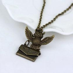 Harry Potter Brons Halsband - Ugglan Hedwig med Kuvert / Brev Bronze