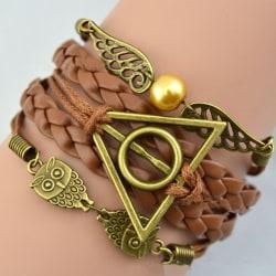 Harry Potter Brunt Läderarmband -Gyllene Kvicken & Dödsrelikerna Brun