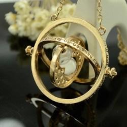 Harry Potter Guld Halsband - Hermiones Time Turner - Vit Sand Guld
