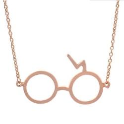 Harry Potter Halsband - Glasögon med Blixt - Guld Guld