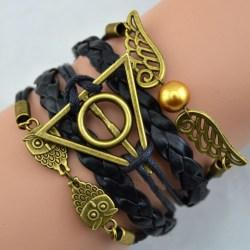 Harry Potter Svart Läderarmband -Gyllene Kvicken & Dödsrelikerna Svart