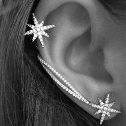 Jul Silver Örhängen / Ear Cuff - Snöflinga/Stjärna & Rhinestone Silver