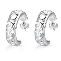 Klassiska Silver Örhängen - Hoop i Fint ihåligt Mönster Silver