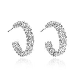 Klassiska Silver Örhängen - Hoop med Flätad Design  Silver