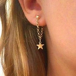 Långa Guld Örhängen - Kula med Kedjor & Stjärnor / Stjärna  Guld