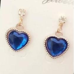 Långa Guld Örhängen - stort Hjärta med Mörk Blå Rhinestone Mörkblå