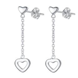 Långa Silver Örhängen med Hängande Hjärtan / Heart  Silver
