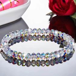 Pärlarmband/Armband -Vita Pärlor som Glittrar i Regnbågens Färg Transparent