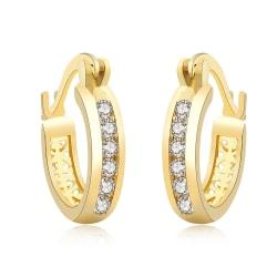 Retro Glittrande Guld Örhängen - Hoop med Vita CZ Kristaller Guld
