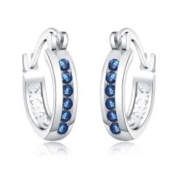 Retro Glittrande Silver Örhängen - Hoop med Blå CZ Kristaller Silver