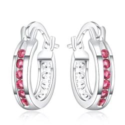 Retro Glittrande Silver Örhängen - Hoop med Cerise CZ Kristaller Silver