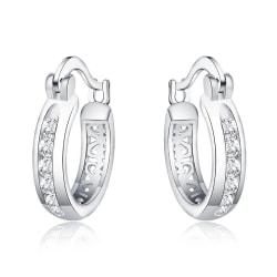 Retro Glittrande Silver Örhängen - Hoop med Vita CZ Kristaller Silver