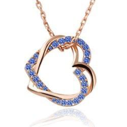 Rosé Guld Halsband - Dubbla Hjärtan & Blå Kristaller - GP Rosa guld
