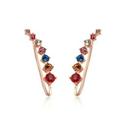 Rosé Guld Örhängen -en rad Strass / CZ Kristaller i Olika Färger Rosa guld