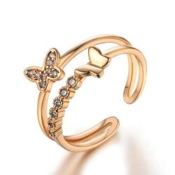 Rosé Guld Ring med 2 Fjärilar & CZ Kristaller - Justerbar  Rosa guld one size