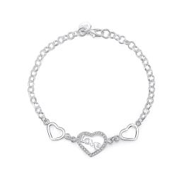 Silver Armband - Hjärta med Glittrande Vita CZ Kristaller / LOVE Silver