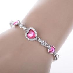 Silver Armband med Hjärtan - Rosa & Vita Rhinestones / Strass Rosa
