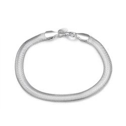 Silver Armband - Platt Ormlänk - Stilren Design  Silver