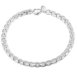Silver Armband -  Rundad Klassisk Design på Kedja / Länk  Silver