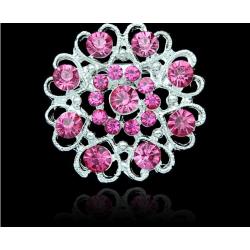 Silver Brosch - Blomma & Hjärtan med Rosa Rhinestones Rosa