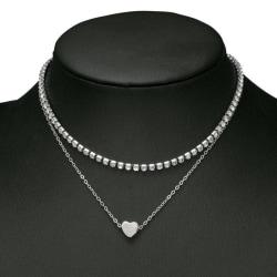 Silver Choker Halsband - 2 Kedjor med Strass & ett Enkelt Hjärta Silver