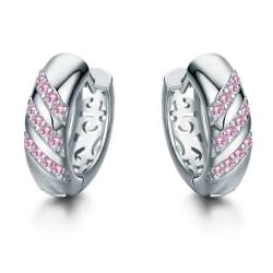 Silver Hoop Örhängen med Ljus Rosa CZ Kristaller & Fint Mönster Silver