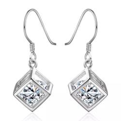 Silver Örhängen - Kub / Fyrkant med Glittrande Vit CZ Kristall Silver