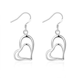Silver Örhängen med Dubbla Hängande Hjärtan / Heart Silver