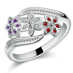 Silver Ring - Blommor med Lila, Röda & Vita Kristaller Stl 18,9 Silver