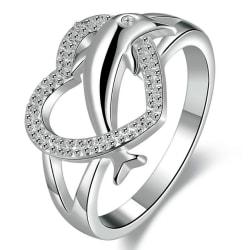 Silver Ring - Hjärta & Delfin med Vit CZ Kristall - Stl 18,2 Silver