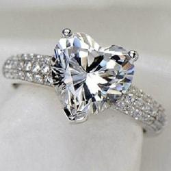 Silver Ring - Hjärta & Vita CZ Kristaller - Stl 16,5 Silver
